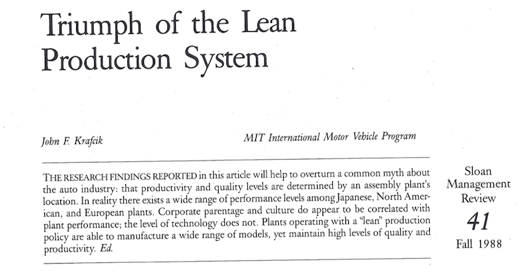 Triumph of the lean production system - Kraficik